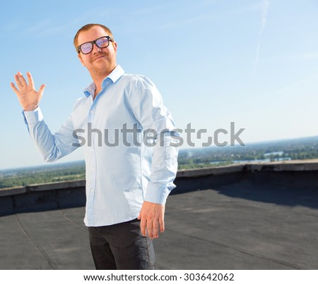Hello hi friend modern man fashionable stock photo royalty free modern man in fashionable glasses shows a gesture of welcome m4hsunfo