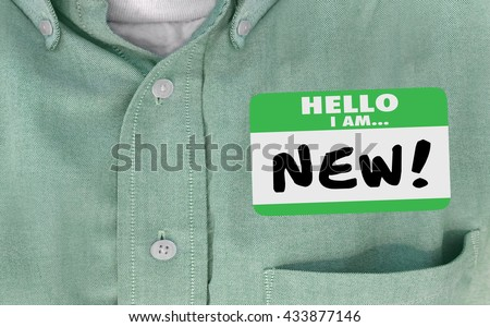 Hello I am New Words Sticker Name Tag Rookie - stock photo