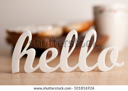 Hello in Front of Breakfast - stock photo
