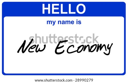 hello my name is new economy blue sticker - stock photo