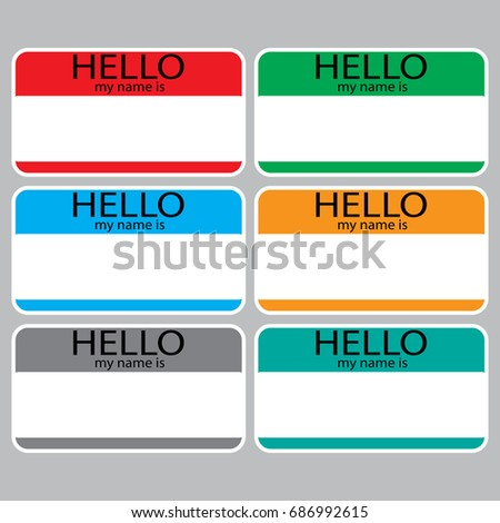Hello my name is sticker sign badge set color name tag name plate
