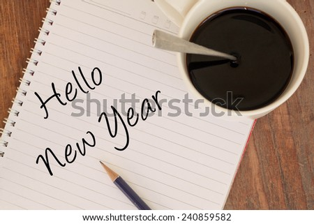 hello new year text write on book  - stock photo