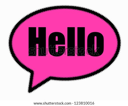 Hello sign in pink speech bubble - stock photo