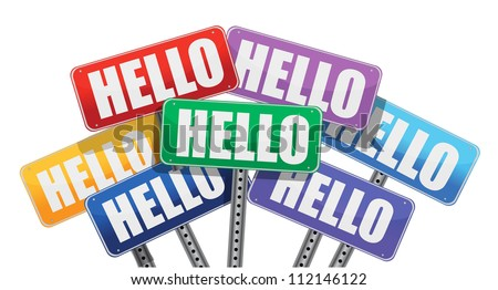 hello signs illustration design over a white background - stock photo