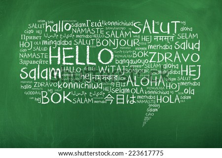 Hello speech bubble word cloud on stock photo 223617775 for Green in different languages