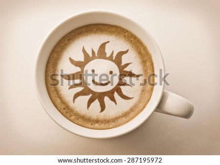 Hello summer coffee latte art  - stock photo