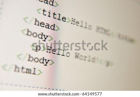 Hello World - html code - stock photo
