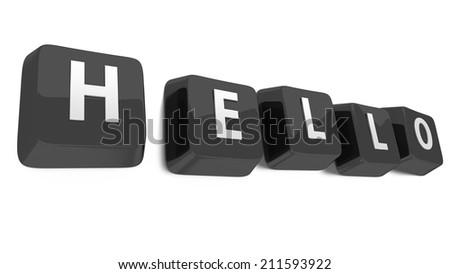 HELLO written in white on black computer keys. 3d illustration. Isolated background. - stock photo