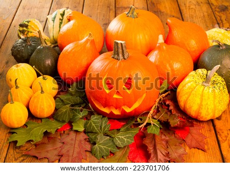Helloween pumpkins - stock photo