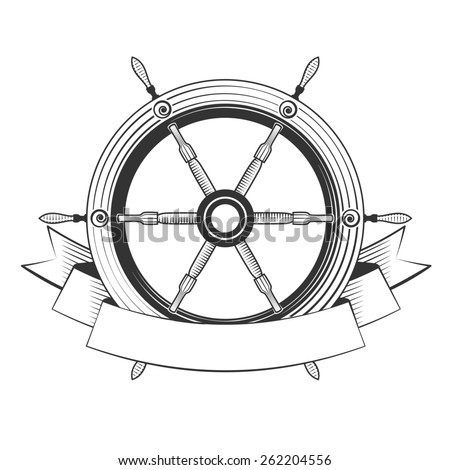 helm boat on a white background - stock photo