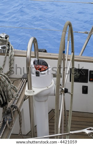 Helm of a sailing yacht