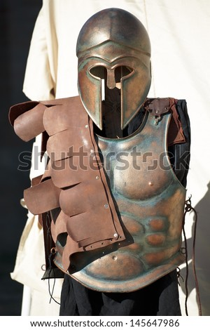 helmet and breastplate of a Spartan Corinthian Soldier uniform - stock photo