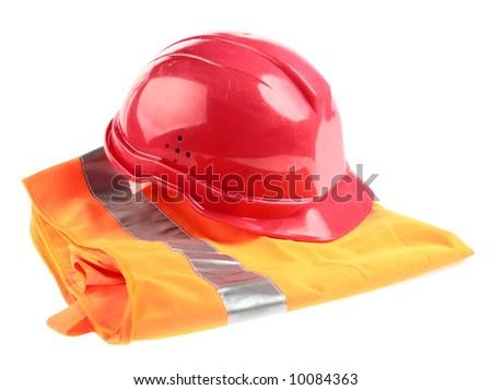 Helmet and builder's jacket over white - stock photo