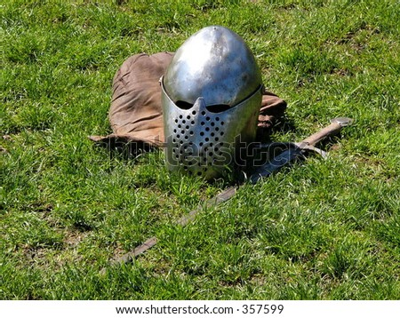 Helmet and sword (color) - stock photo