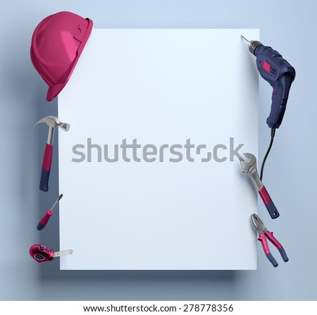 helmet, drill, pliers and construction tools on a white background frame - stock photo