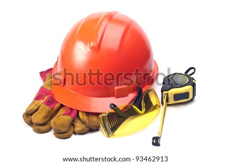 Helmet, gloves and points on a white background