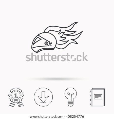 Helmet on fire icon. Motorcycle sport sign. Download arrow, lamp, learn book and award medal icons. - stock photo