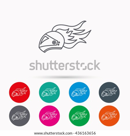Helmet on fire icon. Motorcycle sport sign. Linear icons in circles on white background. - stock photo