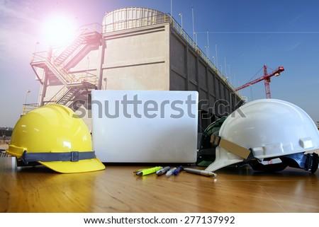 helmet work outdoor for utility construction - stock photo