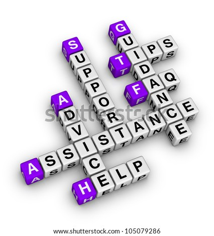 Help and support crossword - stock photo