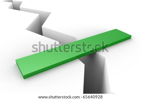 help bridge over earth crack, business concept - stock photo
