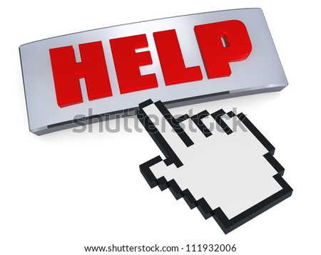 Help button pressed by hand pointer - stock photo