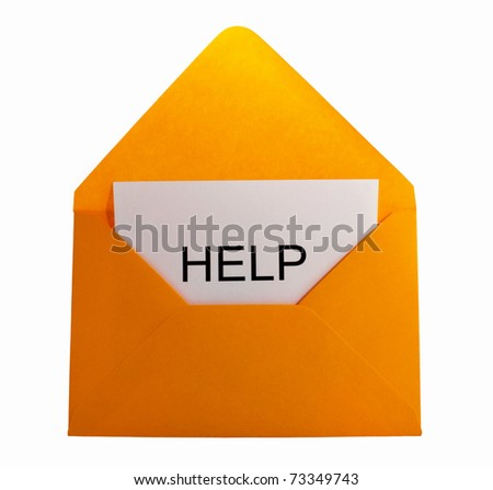 Help card in yellow envelope - stock photo