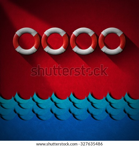 Help Concept - Lifebuoys and Sea Waves / Four red and white lifebuoys hanging to a red velvet wall with blue sea waves - Concept of help or sos - stock photo