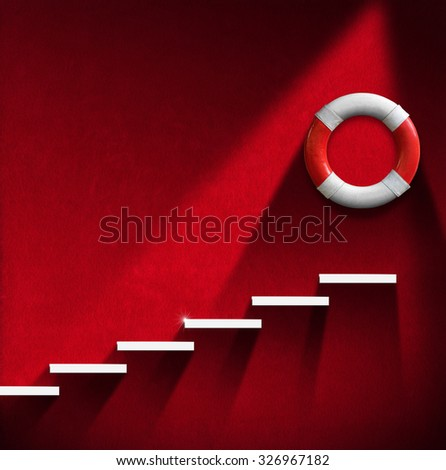 Help Concept - Staircase and Lifebuoy / Red room with white staircase and red and white lifebuoy. Concept of help - stock photo