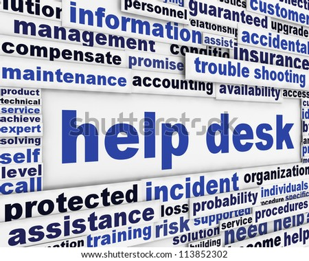 Help desk poster design. Customer service message background - stock photo