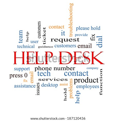 Help Desk Word Cloud Concept with great terms such as customers, email, support and more. - stock photo