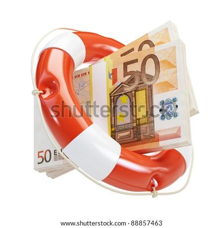 help euro financial crisis on a white background - stock photo