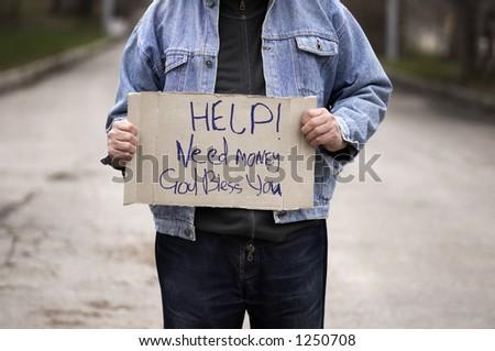 Help!Need money! - stock photo