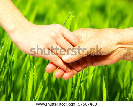 help of youths old people - stock photo