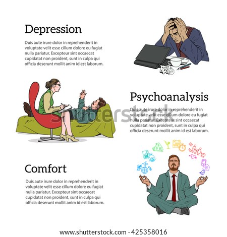 Help psychologist. Psychotherapy. Consulting psychologist doctor. Psychologist listens to patient. Man in depression. The crisis in the country and life. Bad feeling. Relaxed. Search yourself.  - stock photo