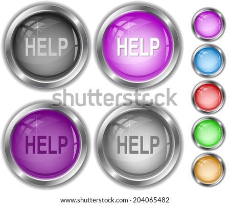 Help. Raster internet buttons.  - stock photo