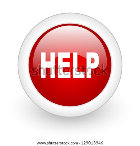 help red circle glossy web icon on white background - stock photo
