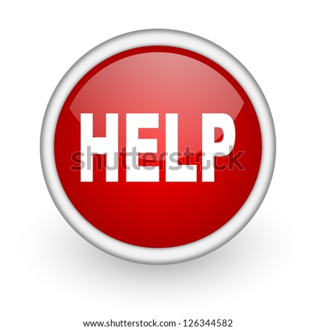 help red circle web icon on white background - stock photo