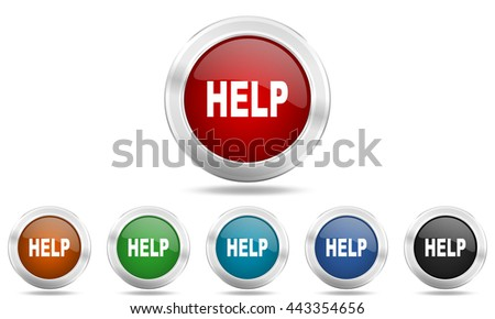 help round glossy icon set, colored circle metallic design internet buttons