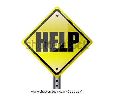 Help Yellow street sign - stock photo