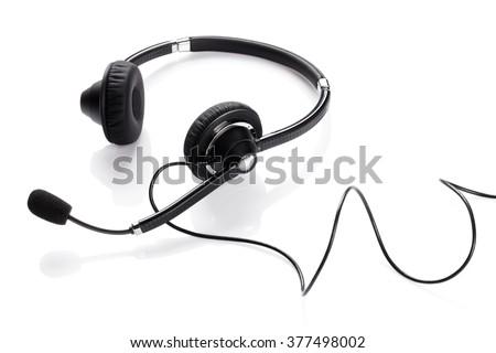 Helpdesk headset. Isolated on white background - stock photo