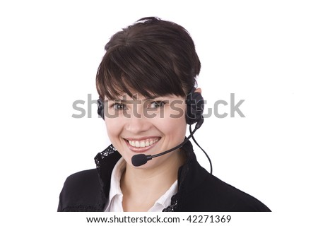 Helpdesk or support operator. Successful  businessman is speaking over the headset with a microphone. How can i help you? Face of young charming confident woman with headset. - stock photo