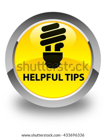 Helpful tips (bulb icon) glossy yellow round button - stock photo