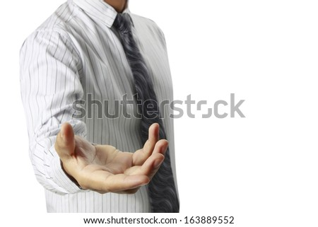 Helping hand in business man - stock photo