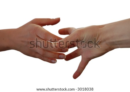 Helping Hand isolated on white background - stock photo