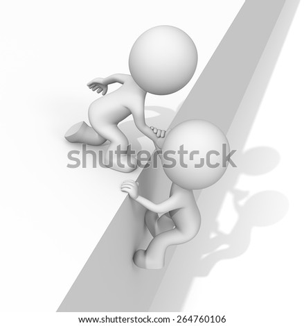 Helping hand. The dude 3D character helping hands. Hard shadow. - stock photo