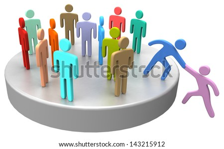 Helping hand to new member or hire join up with large social group company or club - stock photo