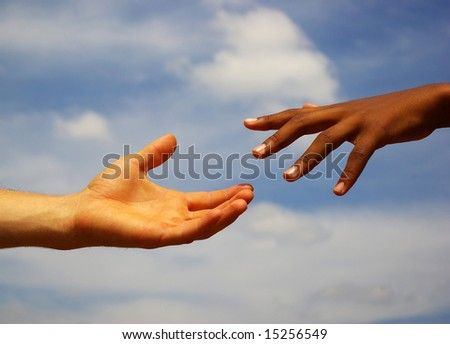 helping hand with  sky - stock photo