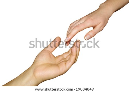 Helping hand with the black background - stock photo