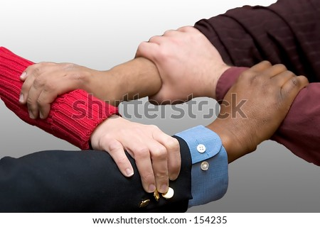 Helping Hands - gray gradient background - stock photo